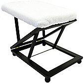 Easy - Folding Adjustable Footstool / Footrest - Dark Brown / Cream