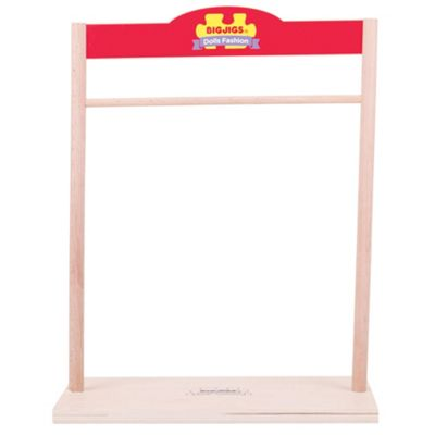 Bigjigs Toys Wooden Wardrobe / Fashion Stand for Rag Doll Clothes - Fits Small and Large Doll Clothing