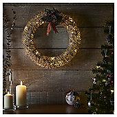 Large Pre Lit Rattan Christmas Wreath