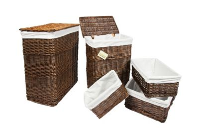 Woodluv Set Of 5 Wicker Rectangular Laundry & Storage Basket-Brown