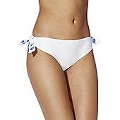 F&F Embroidered Mock Tie Narrow Bikini Briefs - White & Blue