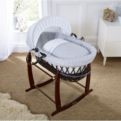 Clair de Lune Dark Wicker Moses Basket (Barley Bebe Grey)