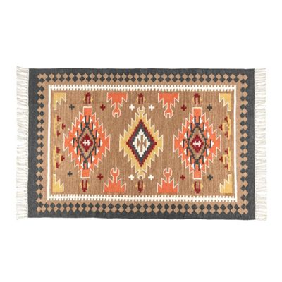 Homescapes Jaipur Handwoven Brown and Orange Patterned Kilim Wool Rug, 120 x 170 cm
