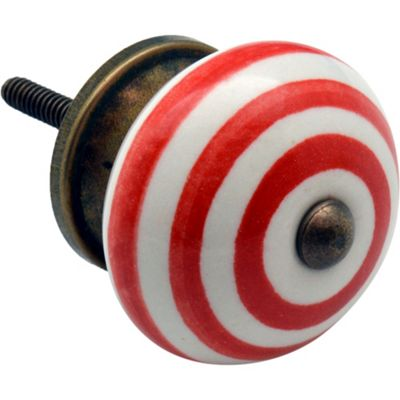 Nicola Spring Ceramic Cupboard Drawer Knob - Stripe Design - Light Red