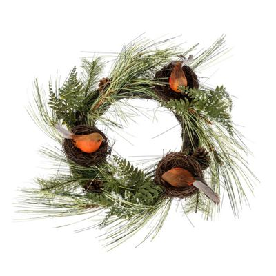 Homescapes Artificial Christmas Wreath with Robins Nests, 16 Inch