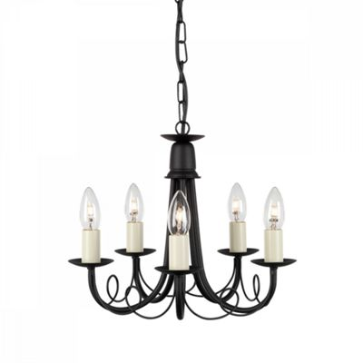 Black 5lt Chandelier - 5 x 60W E14