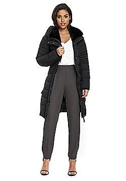 Wallis Belted Midi Puffer Coat - Black