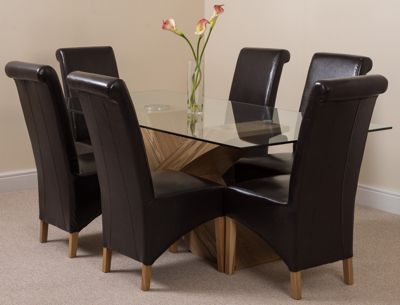 Valencia Glass & Oak 200 cm Dining Table with 6 Brown Montana Leather Chairs