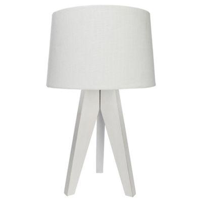 Tesco Tripod Table Lamp, White Wood/Linen Shade