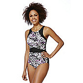 F&F Active Print Panel High Neck Swimsuit - Black