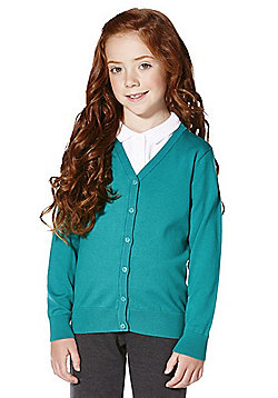 F&F School Girls Ribbed Cardigan with As New Technology - Jade