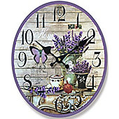 Butterfly and Lavender Oval Wall Clock, Wooden Shabby Chic Style