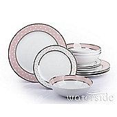12 Piece Pink Star Platinum Band Dinner Set