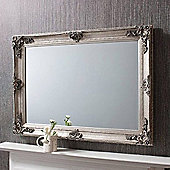 Large Silver Antique Style Rectangle Wall Mirror Wood 3Ft8 X 2Ft8 112Cm X 81Cm