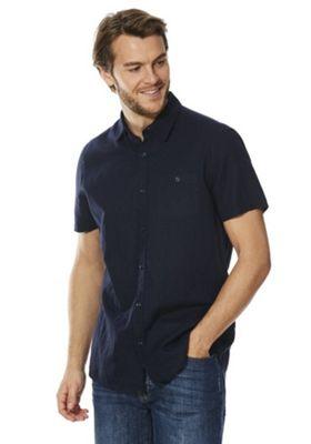 F&F Linen-Blend Short Sleeve Shirt Blue 3XL