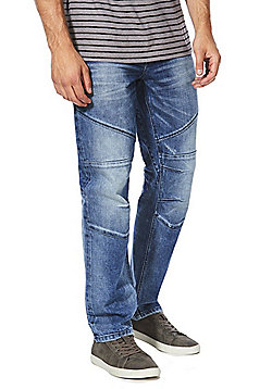 F&F Biker Stretch Straight Leg Jeans - Blue