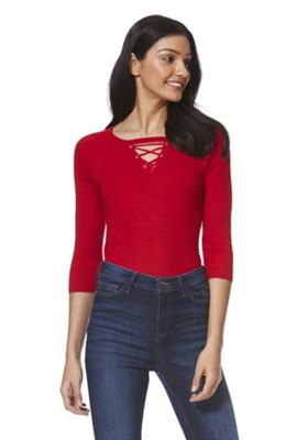 F&F Lace-Up Detail Skinny Ribbed Jumper Red 22