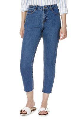 Vero Moda Frayed Hem Loose Fit Jeans 29 Waist 32 Leg Mid wash