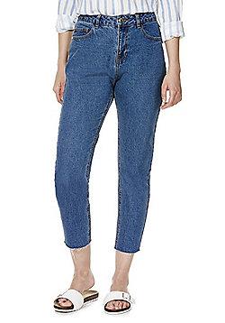 Vero Moda Frayed Hem Loose Fit Jeans - Mid wash
