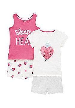 F&F 2 Pack of Strawberry and Slogan Print Pyjamas - Pink & White