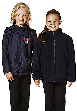 Unisex Embroidered Reversible School Fleece Jacket - Navy