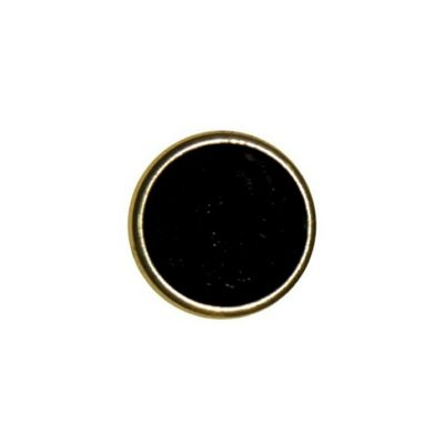 Hemline Black with Gold Rim Buttons 17.5mm 3pk