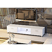 White Low Rise LED Light & Beech Wood Effect TV Stand
