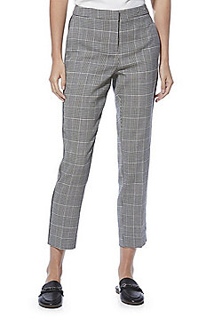 F&F Checked Slim Leg Trousers - Black & White