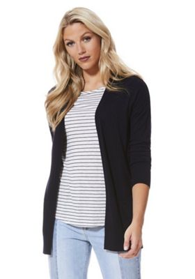 F&F Open Front Long Line Cardigan 10 Navy