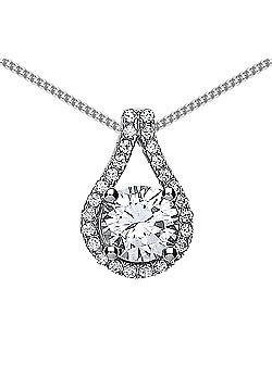 Rhodium Plated Sterling Silver Round Brilliant Cubic Zirconia Tear of Joy Pendant Necklace 18 inch