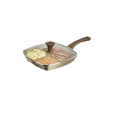 Tower Ceraston 3-in-1 28cm Cast Iron Grill Pan - Gold