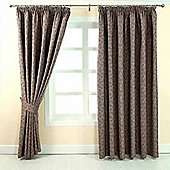 """Homescapes Purple Jacquard Curtain Vintage Floral Design Fully Lined - 66"""" X 54"""" Drop"""