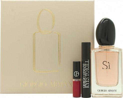 Giorgio Armani Si Gift Set 50ml EDP Spray + 2ml Eyes To Kill Mascara in Black + 1.5ml Lip Maestro in 400 The Red For Women