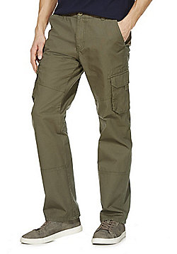 F&F Canvas Loose Fit Cargo Trousers - Khaki