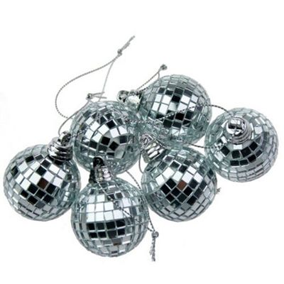 Pack of 6 Silver Mirror Ball Christmas Decoration (15cm)