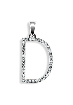 9ct White Gold Diamond Initial Identity Pendant - Letter D