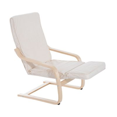Homcom Wooden Lounging Rocking Chair Relaxing Recliner Lounge Seat w/ Adjustable Footrest & Removable Cushion (Creamy white)