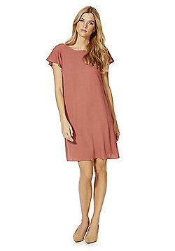 Vila Ruffle Detail Swing Dress - Pink