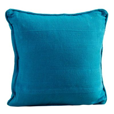 Homescapes Cotton Rajput Ribbed Teal Cushion Cover, 60 x 60 cm