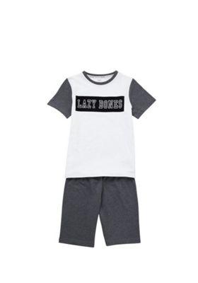 F&F Lazy Bones Pyjamas White/Grey 6-7 years
