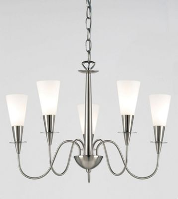Endon Lighting Five Chandelier in Classic Satin Chrome