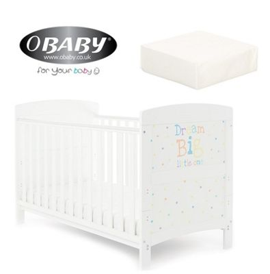 Obaby Grace Inspire Cotbed plus Mattress - Dream Big Little One