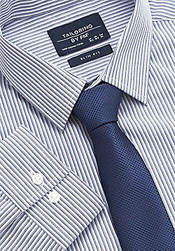 F&F Striped Easy Care Slim Fit Shirt with Tie - Navy