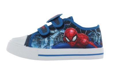 Boys Spiderman Blue Canvas Skate Trainers Hook & Loop UK Child Size 7