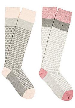F&F 2 Pair Pack of Knee High Thermal Socks - Grey & Pink