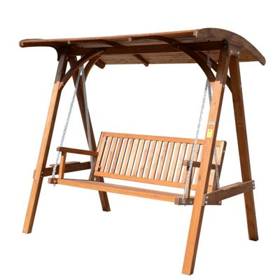 Buy Outsunny 3 Seater Wooden Garden Swing Chair with ...