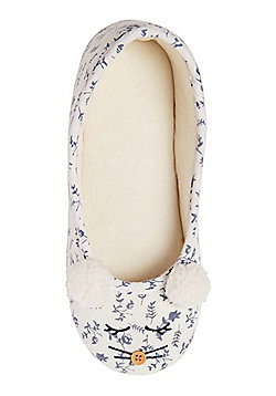 F&F Mouse Face Ballerina Slippers - White