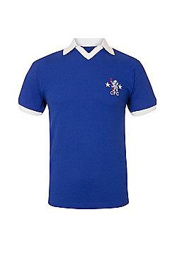 Chelsea FC Mens 1972 1976 Retro Shirt - Blue & White