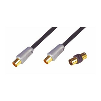 Nikkai High Quality Coax Aerial Lead TV Cable Gold 3M