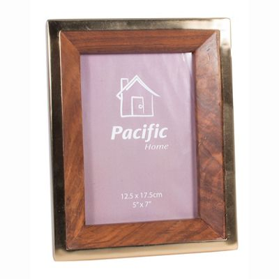 Antique Brass & Sheesham Wood Oblong Photo Frame